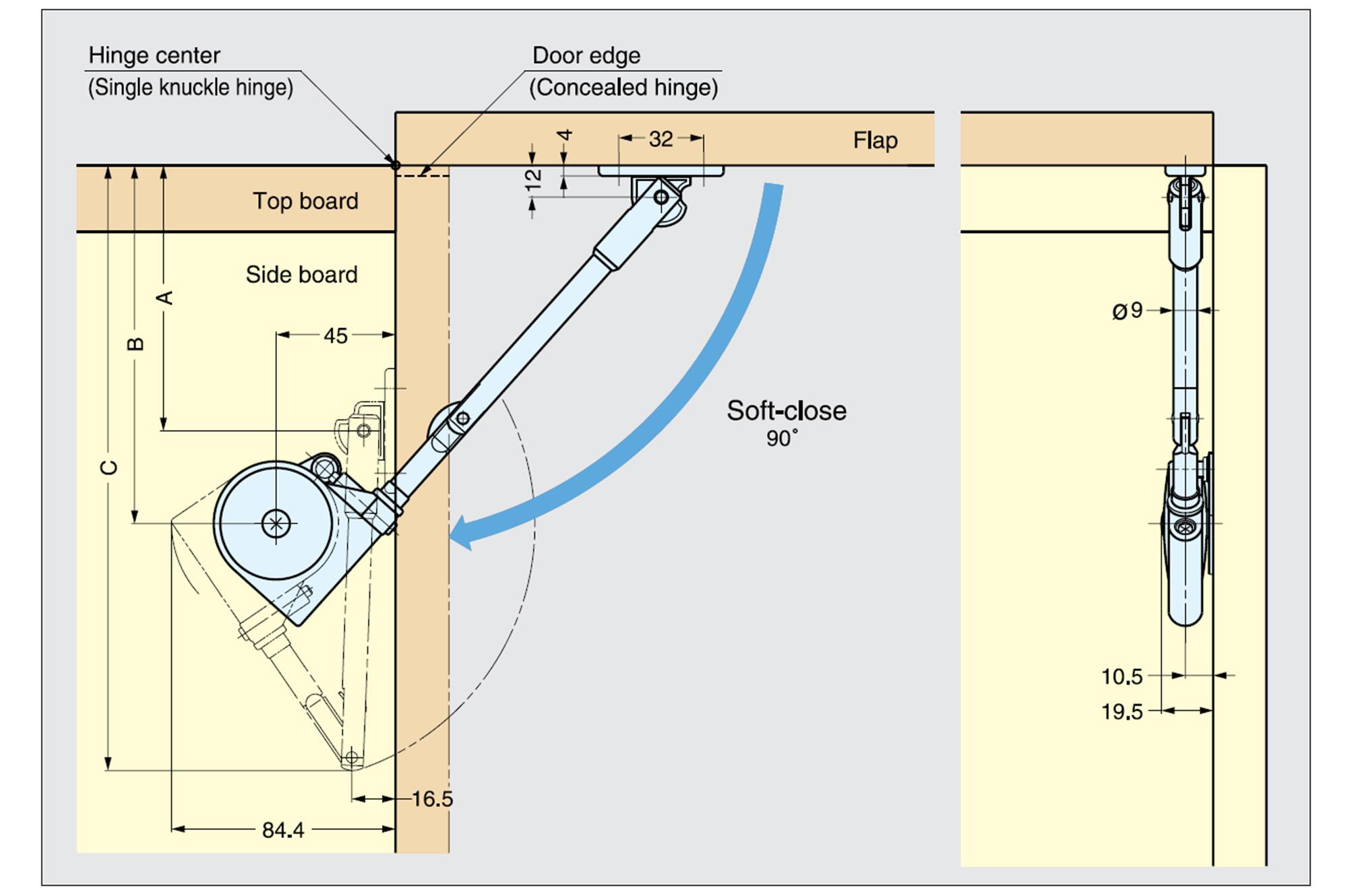 Hydraulisch d mpfer scherenmechanismus k chenschrank for Kuchenschrank beschlage